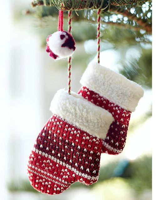 Pottery Barn Red Mitten Pair Ornament