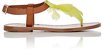 Valentino WOMEN'S FEATHER-EMBELLISHED LEATHER SANDALS - YELLOW SIZE 8