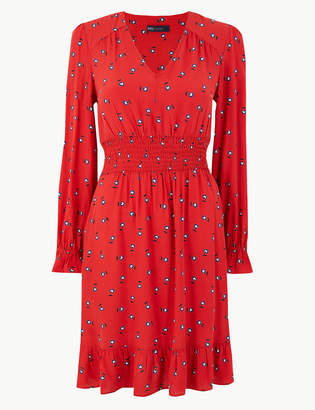 324d7b643c M&S CollectionMarks and Spencer Floral Waisted Knee Length Dress