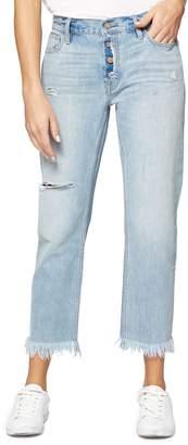 Sanctuary Straight Leg Fray Hem Boyfriend Jeans