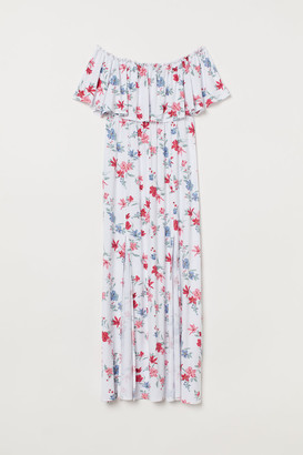 H&M Long Dress with Flounce - White