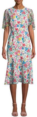 Elie Tahari Sabrina Floral-Print Midi Dress