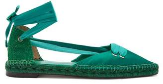 Castaner X Manolo Blahnik Satin Flats - Womens - Green