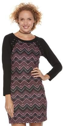 Trixxi Juniors' Chevron Lace-Up Sweater Dress