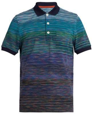 Missoni Space Dye Cotton Knit Polo Shirt - Mens - Blue Multi