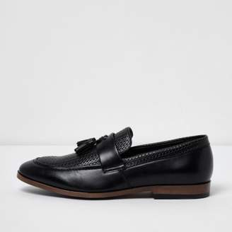 River Island Mens Black tassel woven loafers