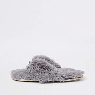 River Island Grey faux fur flip flop slippers