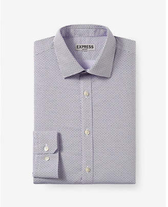 Express slim micro geo print non-iron dress shirt