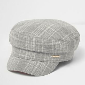 River Island Womens Grey herringbone check baker boy hat