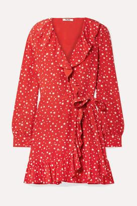 Miu Miu Ruffled Printed Silk-crepe Wrap Mini Dress - Red