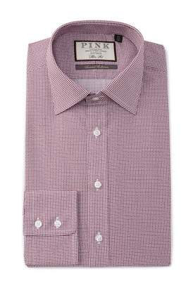 Thomas Pink Slim Fit Cane Print Dress Shirt