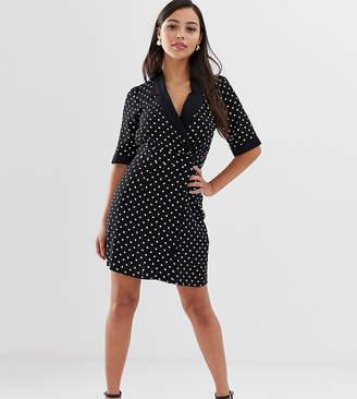 52a5fe9093 Asos DESIGN Petite collared wrap mini dress in mono spot