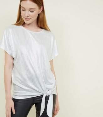 New Look Silver Metallic Stripe Tie Side T-Shirt