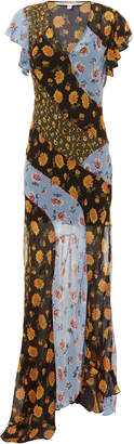 Veronica Beard Kemper Mixed Floral Silk Maxi Dress