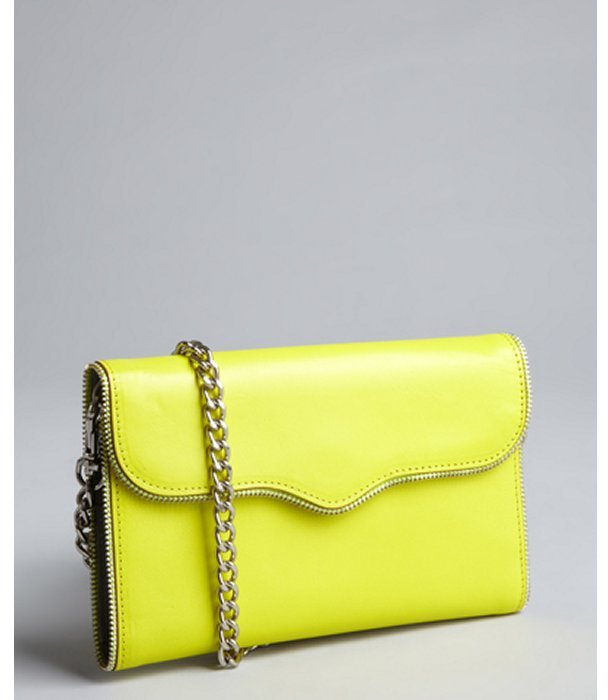Rebecca Minkoff neon yellow leather 'Mab Wallet on a Chain' convertible wallet