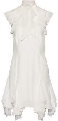 Cinq à Sept Clotilde Pussy-Bow Lace-Paneled Silk Mini Dress