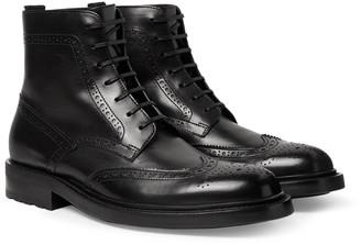 Saint Laurent Polished-Leather Wingtip Brogue Boots