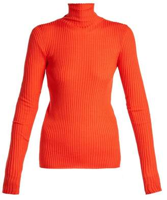 Jil Sander Ribbed Wool And Silk Blend Sweater - Womens - Orange