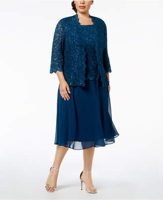 Alex Evenings Plus-Size Lace Sequin-Embellished Dress & Jacket