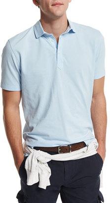 Brunello Cucinelli Short-Sleeve Pique Polo Shirt, Powder Blue $445 thestylecure.com