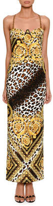 Versace Sleeveless Baroque Leopard-Print Column Evening Gown with Chain Straps