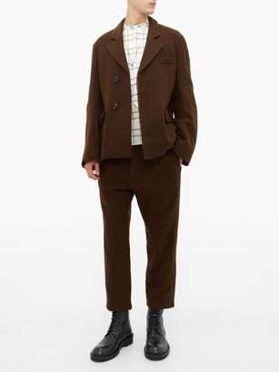 Ann Demeulemeester Cropped Cotton Blend Felt Trousers - Mens - Brown