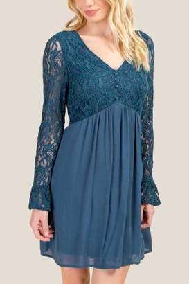 francesca's Kendall Lace Shift Dress - Dark Teal