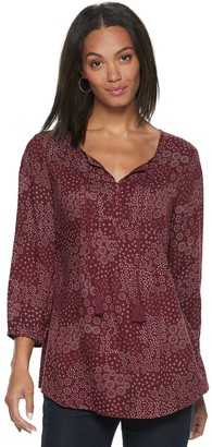 Sonoma Goods For Life Women's SONOMA Goods for Life Printed Pintuck Peasant Top
