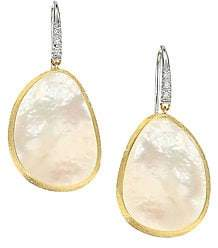 Marco Bicego Lunaria Hammered 18K White & Yellow Gold Diamond Drop Earrings
