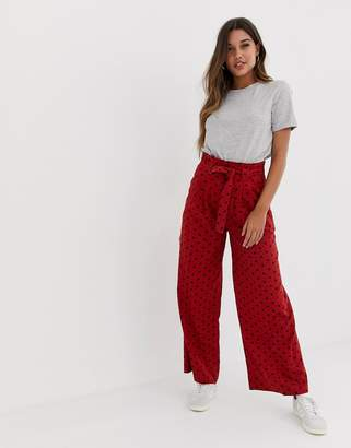 Asos Design DESIGN linen wide leg trousers with paperbag waist and belt in spot