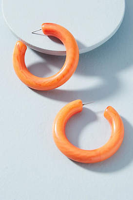 Anthropologie Carrie Marbled Resin Hoop Earrings
