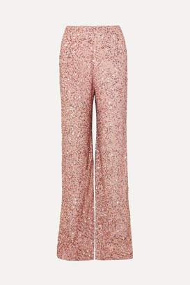Jenny Packham Sequined Chiffon Wide-leg Pants - Blush