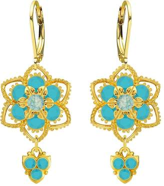 Glamorous Lucia Costin .925 Silver, Mint Blue, Turquoise Crystal Earrings,