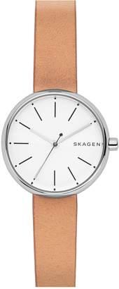 Skagen Round Leather Strap Watch, 30mm
