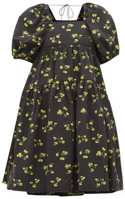 Cecilie Bahnsen - Ronja Tiered Floral Fil Coupe Dress - Womens - Black Yellow