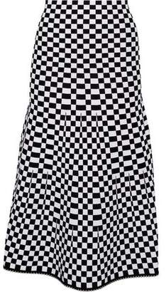 Alexander Wang Bead-Trimmed Checked Jacquard-Knit Midi Skirt