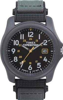 Timex Unisex T42571 Quartz Expedition Camper Watch with Black Dial Analogue Display and Green/Black Strap