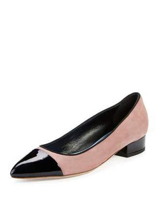 Lanvin Suede Pointed Cap-Toe Pump, Medium Pink/Black $750 thestylecure.com