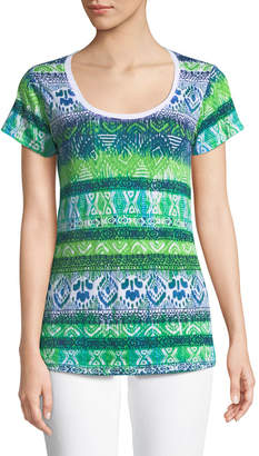 Allen Allen Ikat-Burnout Stripe Scoop-Neck Tee