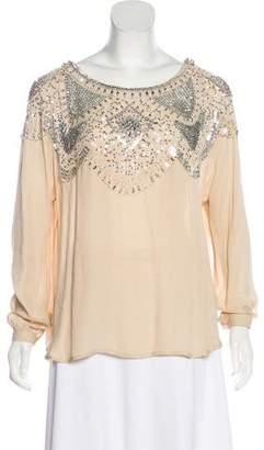 Haute Hippie Silk Embellished Long Sleeve Blouse