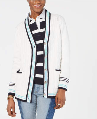 Tommy Hilfiger Cable-Knit V-Neck Cardigan