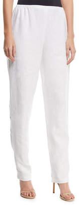 Caroline Rose Slim-Leg Linen Pants, Petite