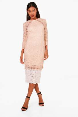 boohoo Boutique Kiki Contrast Lace Midi Dress