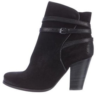 AllSaints Round-Toe Suede Ankle Boots $145 thestylecure.com
