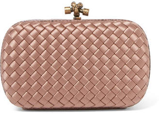 Bottega Veneta The Knot Watersnake-trimmed Intrecciato Satin Clutch - Antique rose