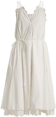 Apiece Apart Mirage scalloped cotton-poplin dress