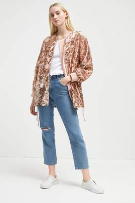 French Connenction Adette Shine Sequin Bomber Jacket