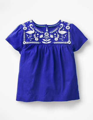 Boden Embroidered Yoke Top