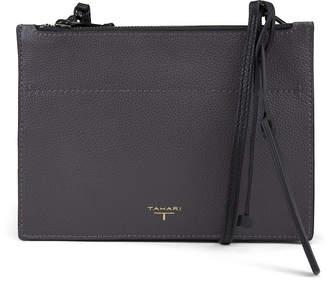T Tahari Color & Black Leather Double Zipper Crossbody