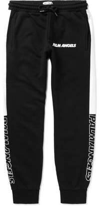 Palm Angels Slim-Fit Tapered Logo-Print Striped Cotton-Jersey Sweatpants